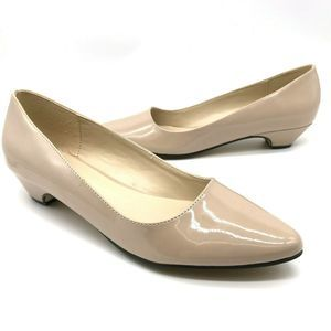 Call It Spring Nude Patent Leather Flat Heeled 7.5